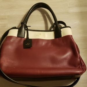 Kate Spade leather satchel-maroon and cream